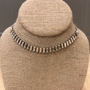 Delicate Fossil choker in silver with rhinestones